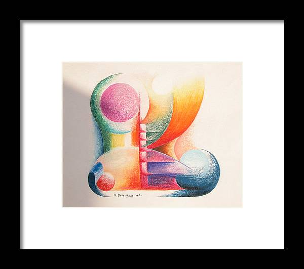 Abstract Framed Print featuring the drawing Boulets by Muriel Dolemieux