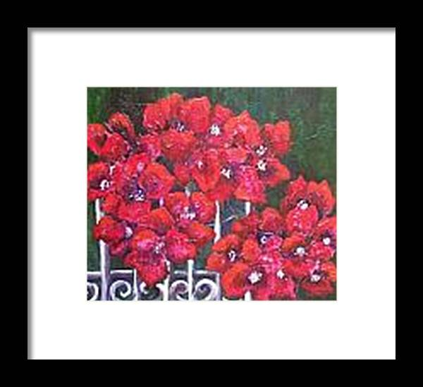 Framed Print featuring the painting Bounganvillia On Fence by Carol P Kingsley