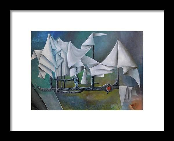 Landscape Framed Print featuring the painting Boat by Libor Kopecky