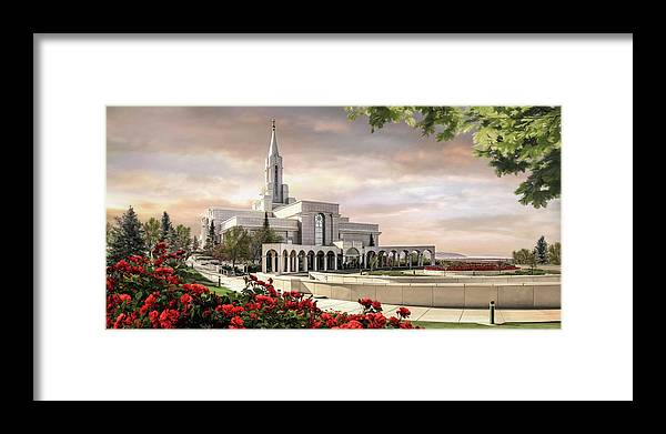 Bountiful Framed Print featuring the painting Bountiful Temple by Brent Borup