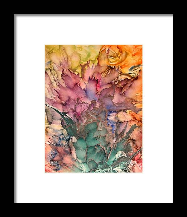 Abstract Framed Print featuring the painting Bouquet by John Vandebrooke