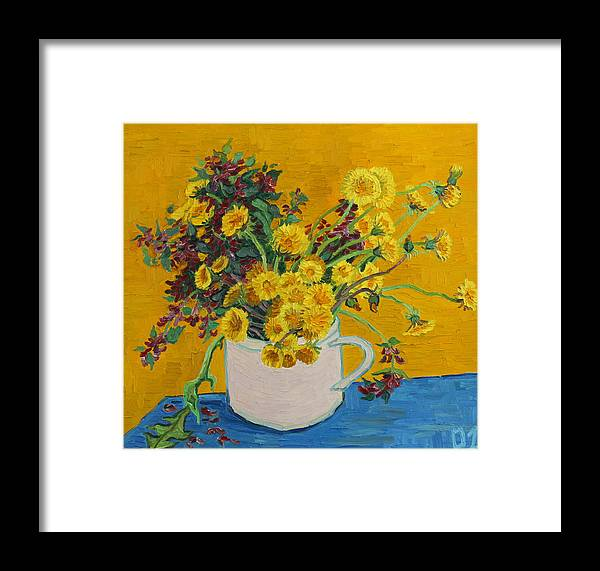 Flowers Framed Print featuring the painting Bouquet Of Dandelions And Wild Flowers by Vitali Komarov