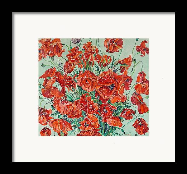 Bouquet Framed Print featuring the painting Bouquet Of Red Poppies With Soft-blue Background by Vitali Komarov