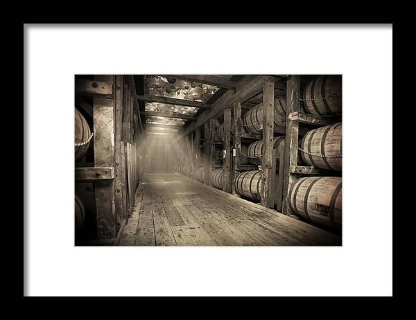 Bourbon Barrel Framed Print featuring the photograph Bourbon Barrels by Glass Glow by Karen Varnas