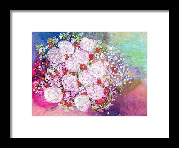 Acrylic Paint Framed Print featuring the painting Bourbon Rose 'boule De Neige' by Don Wright