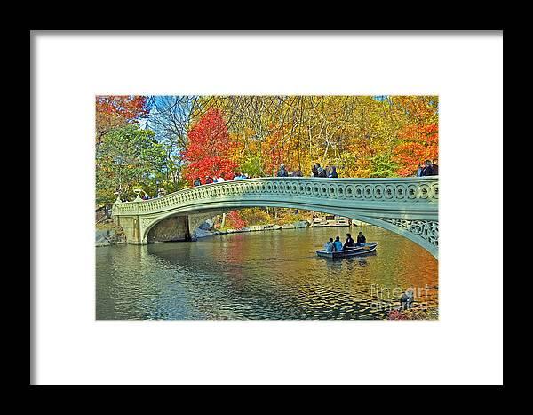Autumn Framed Print featuring the photograph Bow Bridge In Central Park by Allan Einhorn