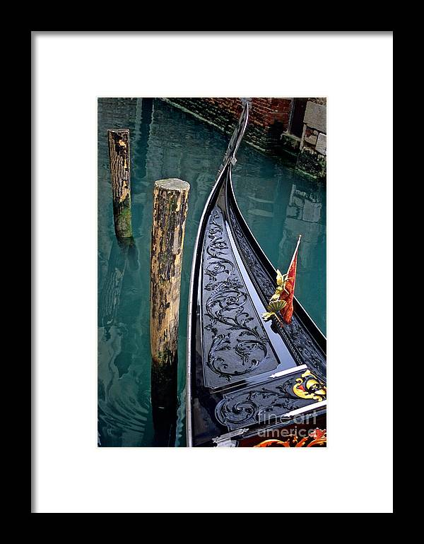 Italy Framed Print featuring the photograph Bow Of Gondola In Venice by Michael Henderson