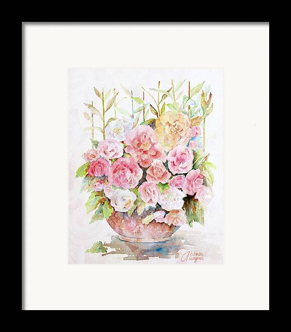Rose Framed Print featuring the painting Bowl Full Of Roses by Arline Wagner