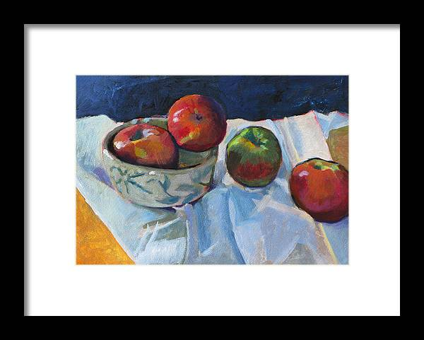 Apple Framed Print featuring the painting Bowl Of Apples by Robert Bissett