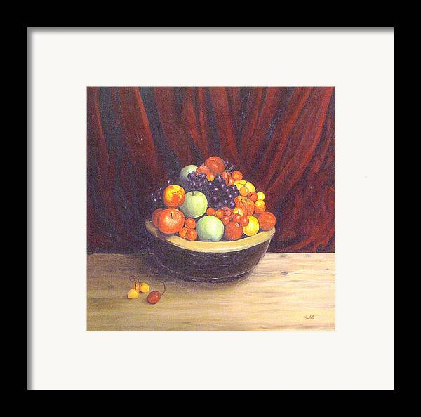 Still Life Framed Print featuring the painting Bowl Of Fruits by Srilata Ranganathan