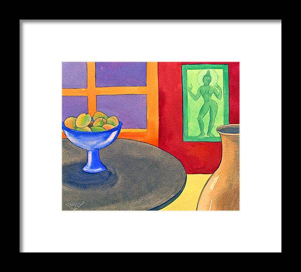 Interior Still Life Indian Deity Framed Print featuring the painting Bowl Of Mangoes by Jennifer Baird