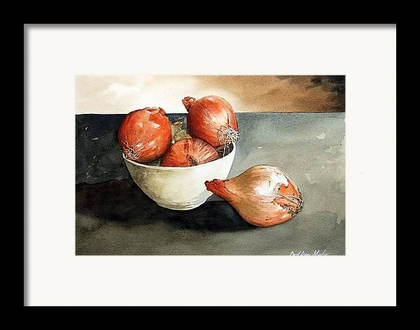 Still Life Framed Print featuring the painting Bowl Of Onions by Paul Dene Marlor