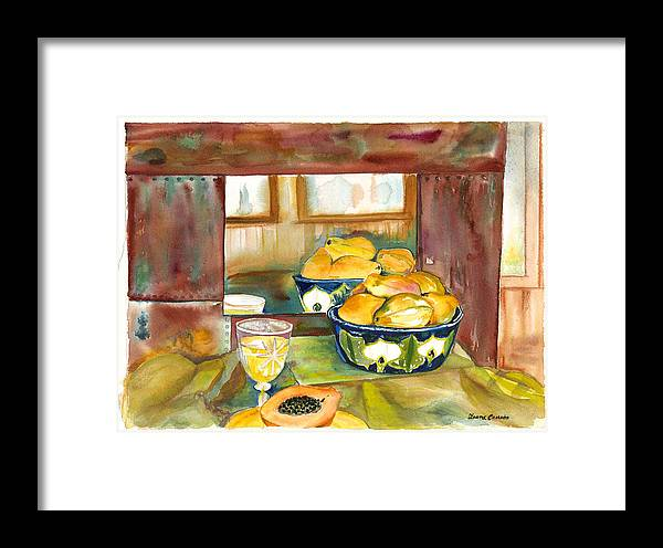 Stillife Framed Print featuring the painting Bowl Of Papayas by Ileana Carreno