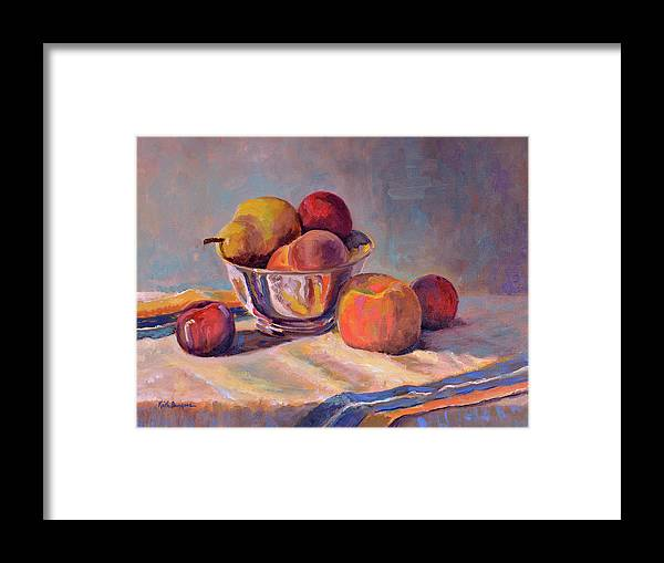Still Framed Print featuring the painting Bowl With Fruit by Keith Burgess