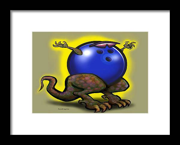 Bowl Framed Print featuring the digital art Bowling Beast by Kevin Middleton