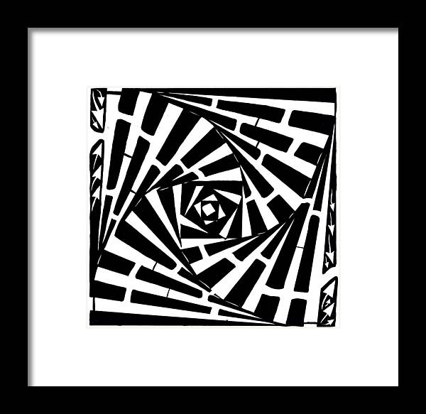 Box Framed Print featuring the drawing Box In A Box Maze by Yonatan Frimer Maze Artist