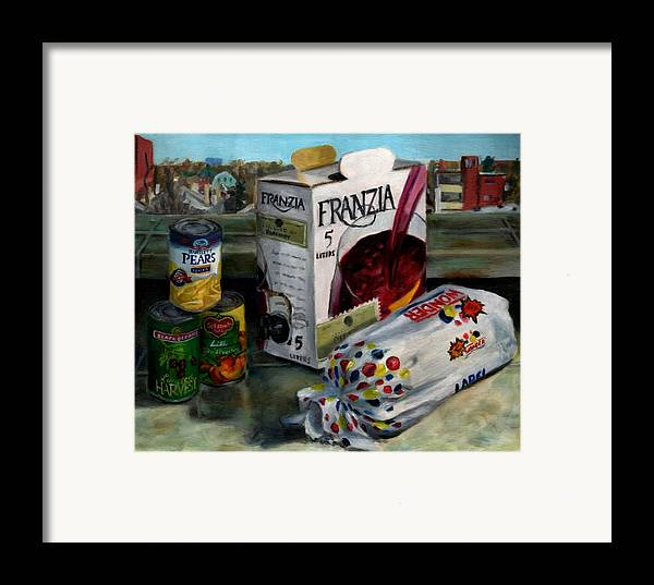 Still Life Framed Print featuring the painting Box Wine With Bread No. 1 by Thomas Weeks