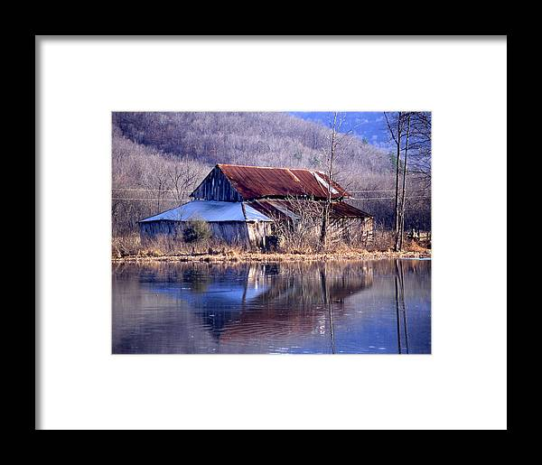 Framed Print featuring the photograph Boxely Barn Reflection by Curtis J Neeley Jr