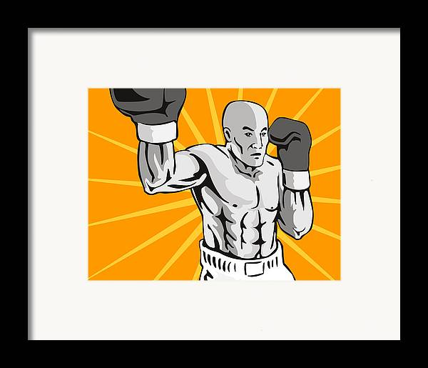 Boxer Framed Print featuring the digital art Boxer Boxing Knockout Punch Retro by Aloysius Patrimonio