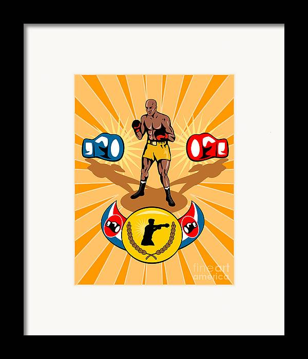 Boxer Framed Print featuring the digital art Boxer Boxing Poster by Aloysius Patrimonio