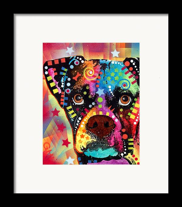 Boxer Framed Print featuring the painting Boxer Cubism by Dean Russo