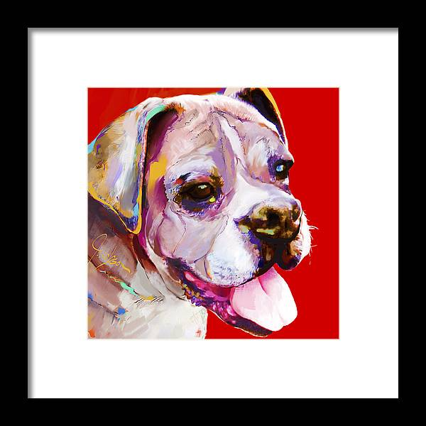 Boxer Framed Print featuring the painting Boxer Dog by Jackie Jacobson