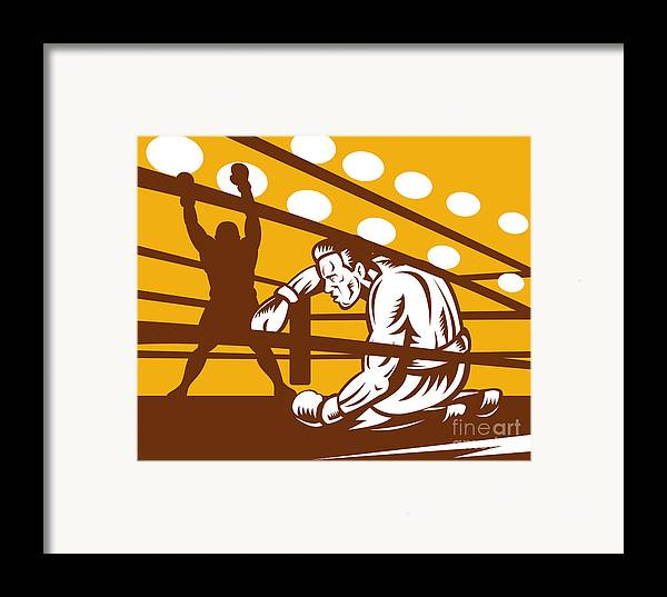 Boxing Framed Print featuring the digital art Boxer Down On His Hunches by Aloysius Patrimonio