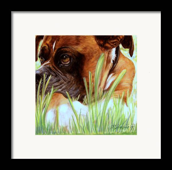 Boxer Framed Print featuring the pastel Boxer by Patricia L Davidson