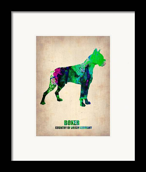 Boxer Framed Print featuring the painting Boxer Poster by Naxart Studio
