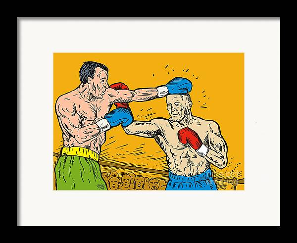 Boxing Framed Print featuring the digital art Boxer Punching by Aloysius Patrimonio