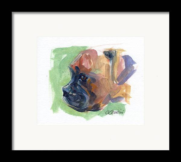 Boxer Puppy Framed Print featuring the painting Boxer Pup by Kimberly Santini