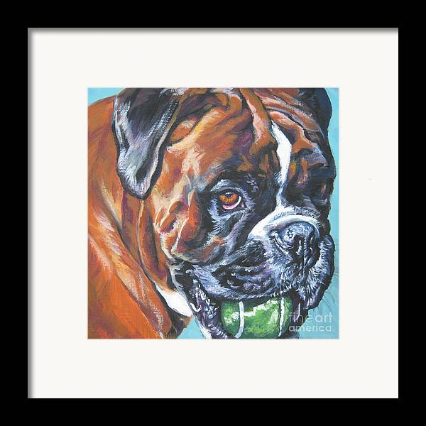 Boxer Framed Print featuring the painting Boxer Tennis by Lee Ann Shepard
