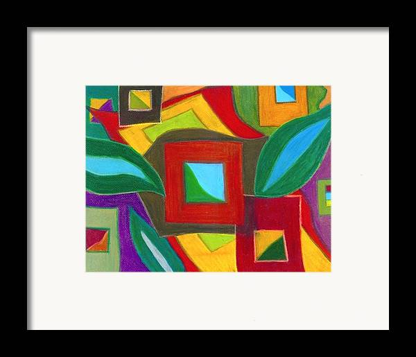 Abstract Drawings Framed Print featuring the drawing Boxesleaves2 by Katina Cote