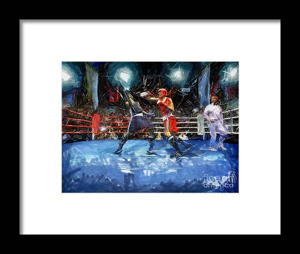 Boxing Framed Print featuring the painting Boxing Night by Murphy Elliott