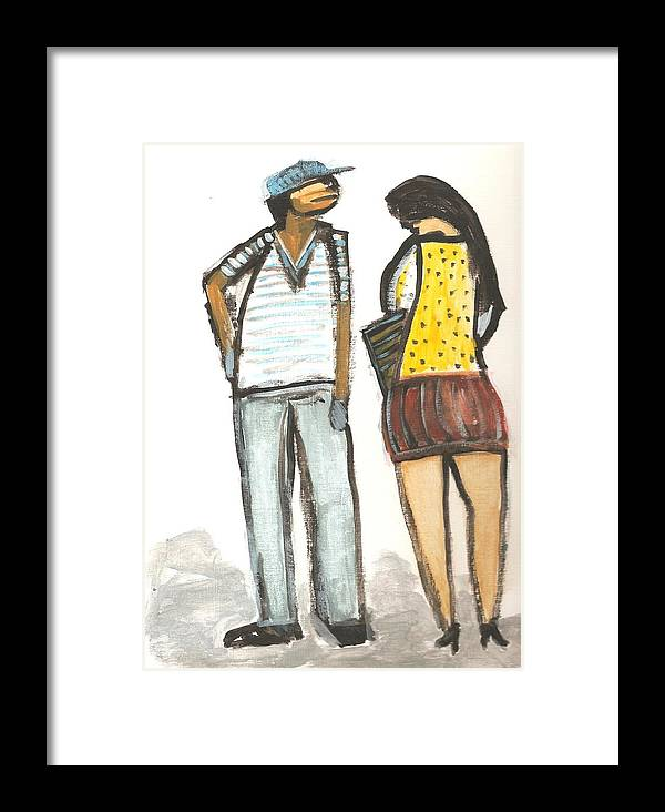 Framed Print featuring the painting Boy And Girl After School by Michael Keogh