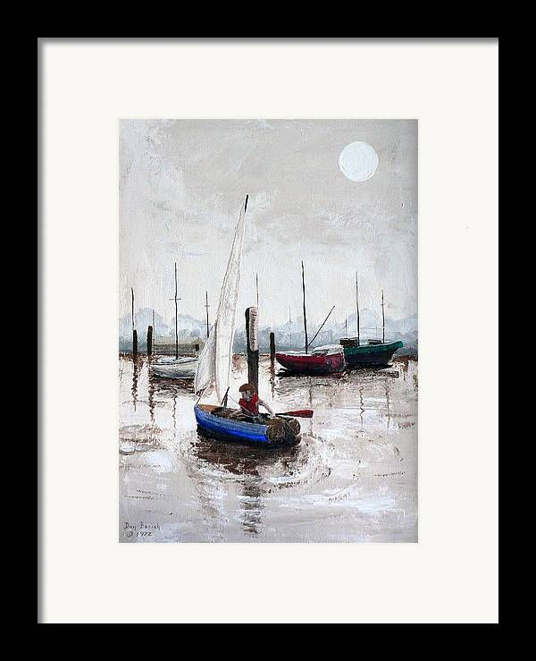 Blue Sailboat Framed Print featuring the painting Boy In Blue Sailboat by Dan Bozich