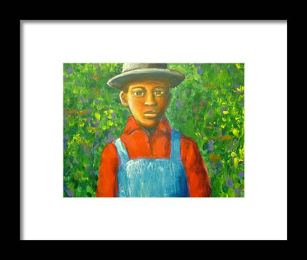 Painting Framed Print featuring the painting 'boy In The Woods' by Jan Gilmore