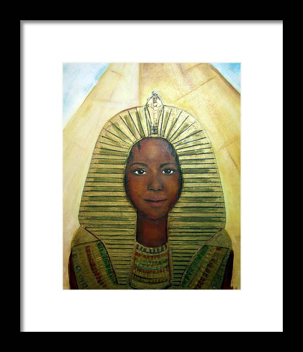 Egyptian Framed Print featuring the painting Boy King by Michela Akers