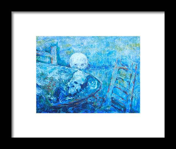 Twilight Of A Impressionistic Blond Boy That Could Also Represent A Moon Lighting Up The Earth That Is Represented By The Table. Abstracted Double Images Framed Print featuring the painting Boy Lights Up The Would by Thomas Dudas