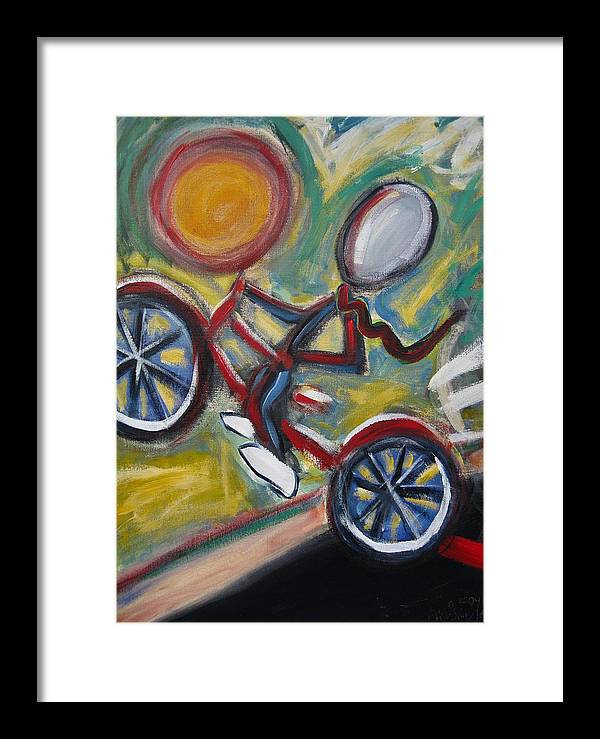 Boy Framed Print featuring the painting Boy On A Bike by Albert Almondia
