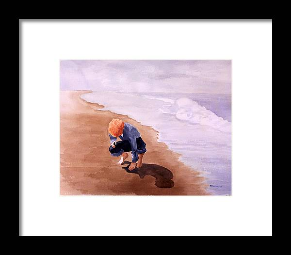 Family Framed Print featuring the painting Boy On The Beach by Robert Thomaston