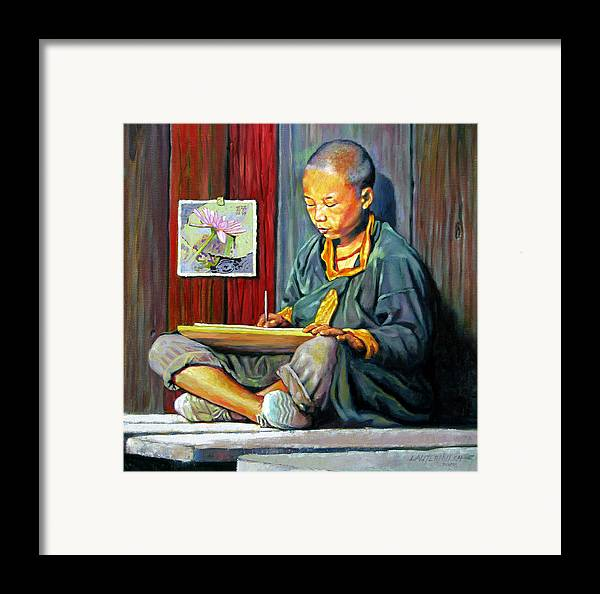 Chinese Boy Framed Print featuring the painting Boy Painting Lilies by John Lautermilch