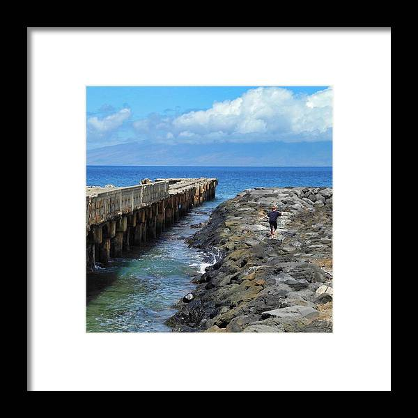 Mala Pier Framed Print featuring the photograph Boy Running on the Breakwater by Kirsten Giving