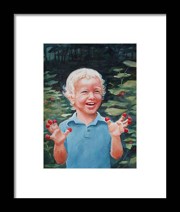Boy Framed Print featuring the painting Boy With Raspberries by Marilyn Jacobson