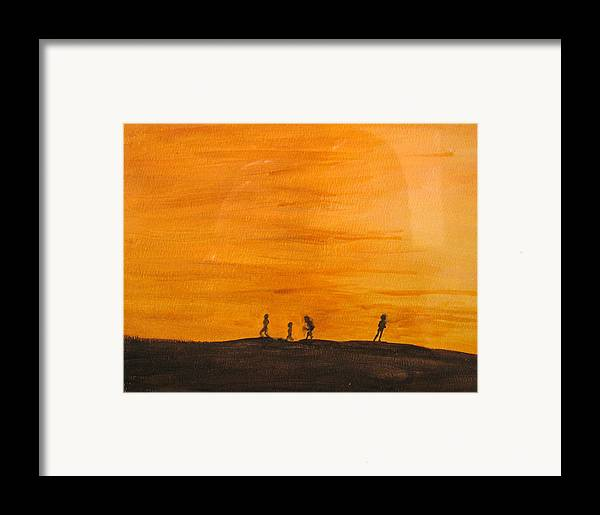 Boys Framed Print featuring the painting Boys At Sunset by Ian MacDonald