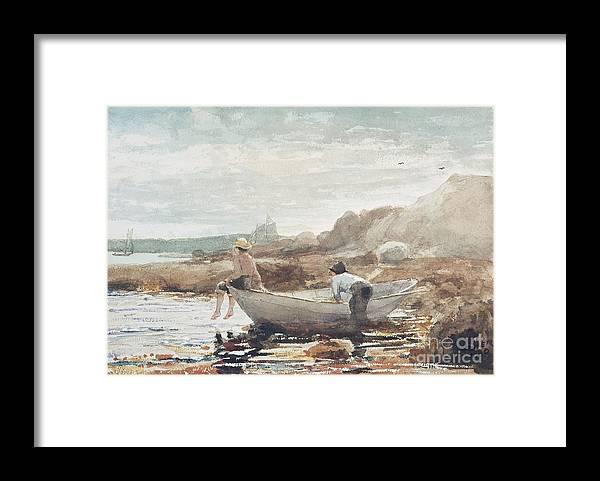 Boys On The Beach Framed Print featuring the painting Boys on the Beach by Winslow Homer