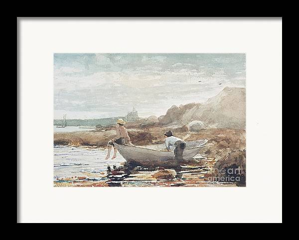 Boys On The Beach (w/c On Paper) By Winslow Homer (1836-1910) Rowing Boat; Fishing; Boy; Male; Children; Child; Playing; Summer; Coast; Coastal; Rocks; Rocky; Boat Framed Print featuring the painting Boys On The Beach by Winslow Homer