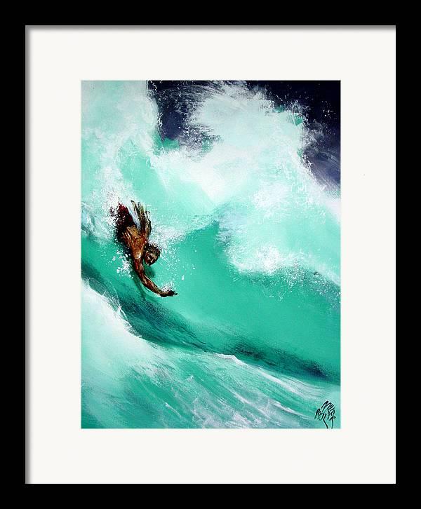 Body Surfer Framed Print featuring the painting Brad Miller In Makaha Shorebreak by Paul Miller