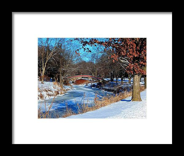 Park Framed Print featuring the photograph Bradley Bridge in January by Helen ONeal