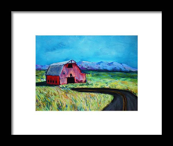 Barn Framed Print featuring the pastel Bradley's Barn by Melinda Etzold
